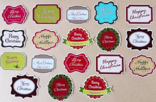 Glossy finish pack of 18 Sentiments Card Making Toppers Christmas Greetings