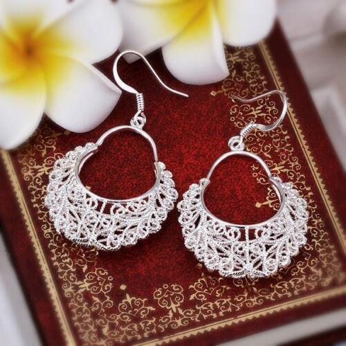 925 Sterling Silver creux Fleur Femmes Accessoires Boucles d/'oreilles Dangle Drop GE328