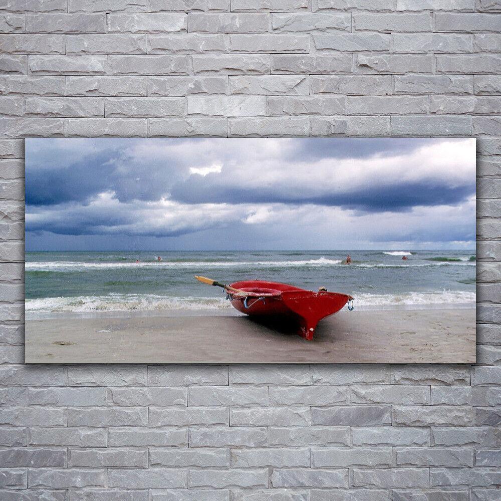 Verre Imprimer Wall Art Image 120x60 Photo bateau plage mer paysage