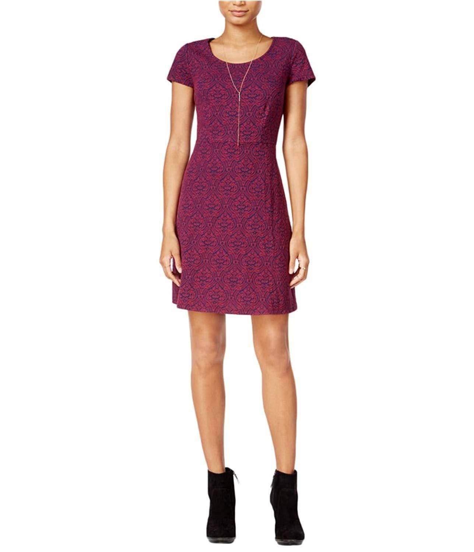 Maison Jules Womens Textured Filigree A-line Dress Purple 2XL