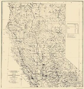 Old Mining Map Placer Mining Areas In Northern California - Northern california map