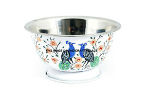 Peacock-Hand-Painted-Stainless-Steel-Bowl-Catering-Washing-Mixing-Bowl-Flat-Base