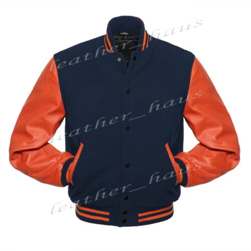 CLRS-BB Superbo Autentico Pelle Manica Letterman College Varsity LANA giacche #os