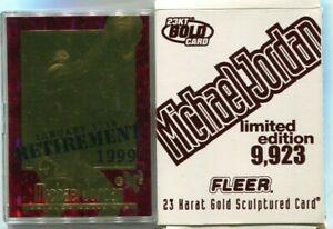 1998 FLEER BLEACHERS 23KT GOLD MICHAEL JORDAN #55 RUBY RED SSP SP /9923