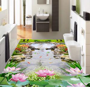 3D Lotus Garden 54 Floor WallPaper Murals Wall Print 5D AJ WALLPAPER UK Lemon