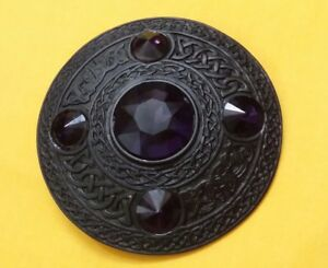 "Scottish Kilt Fly Plaid Brooch Red 5 Stone Black Finish Celtic Pins Brooches 4/"""