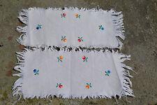 Vintage textile Romanian woven linen pair doiles hand embroidered Transylvania