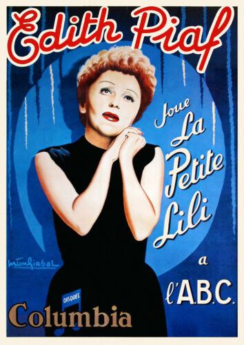 Vintage Edith Piaf Poster la Petite Lili 1950s Abc Music Hall Parigi Francia Art