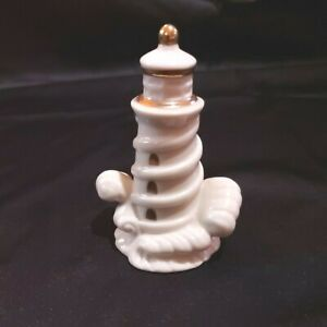 Vintage Lenox Lighthouse Figurine White Porcelain w/Waves Gold Trim Preowned