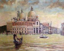 """David Aldus originales """"de Venecia, Góndola"""" Santa María Italia Italiana Pintura Al Óleo"""