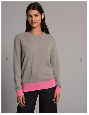 M&s Autograph 100% Cashmere Grey Jumper With Pink Hem/cuffs Size 16 Sweaters Women's Clothing