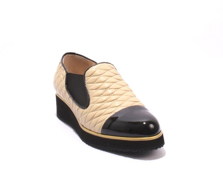 Conni 5704 Black Patent     Beige Leather Wedge Loafers shoes 36.5   US 6.5 60b790