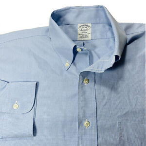 Mens-Brooks-Brothers-Long-Sleeve-Button-Front-Dress-Shirt-Blue-Size-Large-16-33