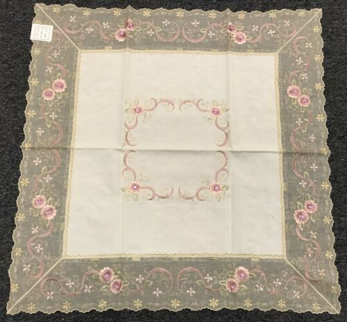 """Ivory Cream Embroidery Pink Jeweled Rhinestone 36/"""" Square Embroidered Tablecloth"""
