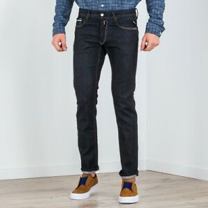 REPLAY-Jeans-Casual-Uomo-Denim-Blu-Scuro-Grover-Straight-Fit-Cinque-Tasche