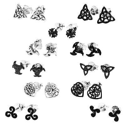 Freundschaftlich Gothic Paar 925er Sterling Silber Ohrringe Keltische Ohrstecker Celtic Herren BüGeln Nicht