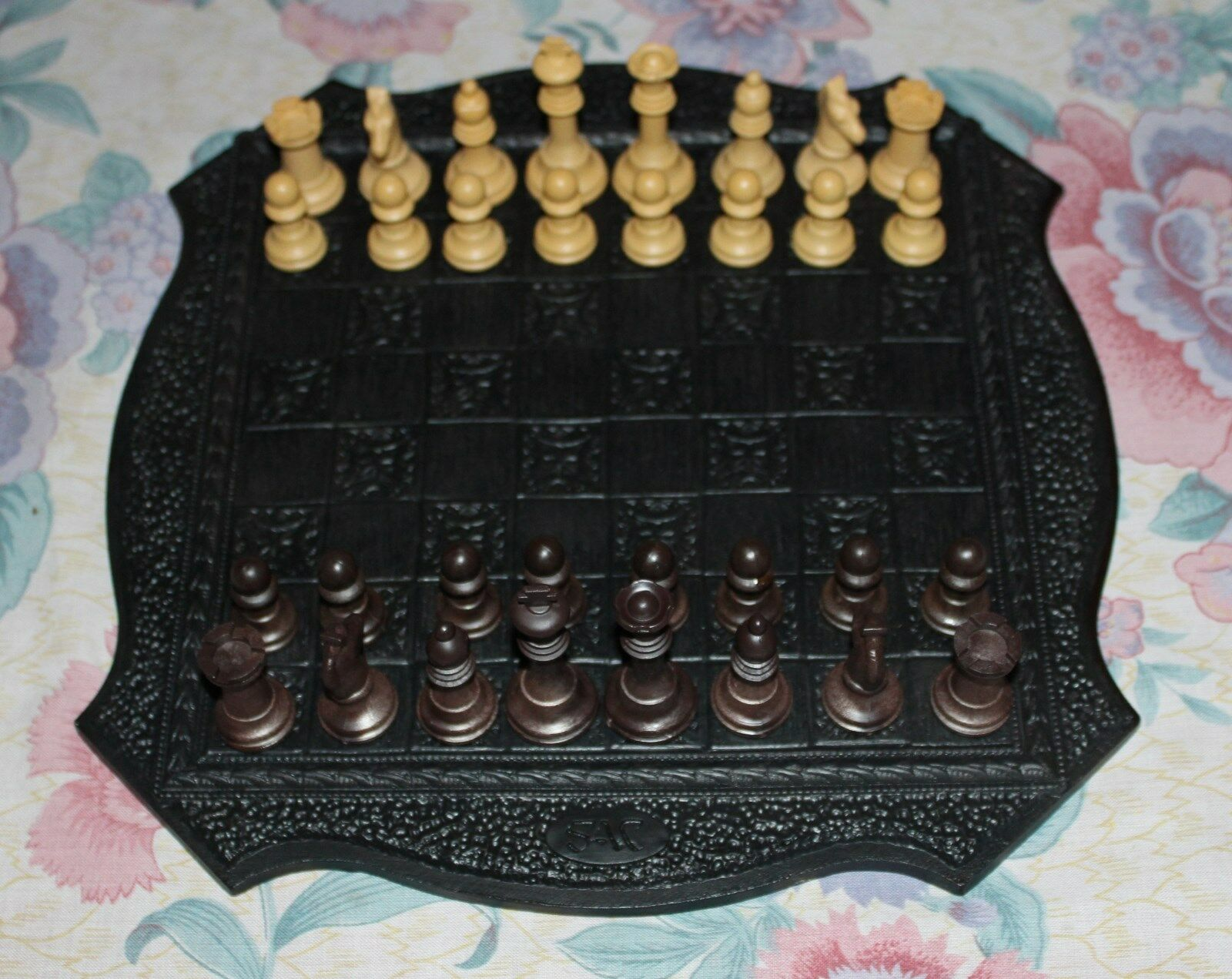 Studio Anne Carlton  Staunton Chess Set with Ornate Resin Board