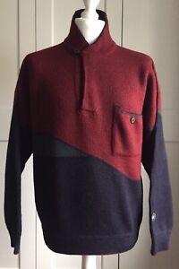 Clipper Vintage Maroon Jumper Size M High Neck Front Pocket 100% Wool Denmark