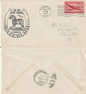 US-1948-FIRST-FLIGHT-FLOWN-COVER-WATERLOO-IOWA-TO-MINNEAPOLIS-MINNESOTA