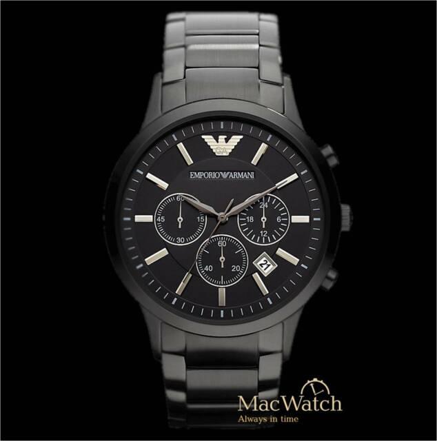 Emporio Armani Herren Uhr AR2453 Schwarz Edelstahl Chronograph Neu