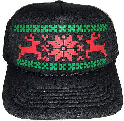 Reindeer Christmas Sweater Party Snapback Mesh Trucker Hat Cap Camo