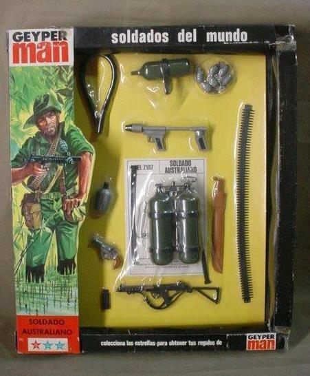VINTAGE GI JOE  GEYPER homme SOTW (AUSTRALIAN SOLDIER) KIT GEYPERhomme MIB MIP 1975  Commandez maintenant
