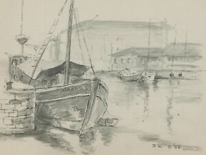 John-A-Case-C-1990-Graphite-Drawing-A-Variety-of-Harbour-Studies