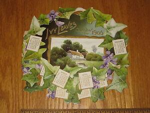 Calendario 1906.1906 Troquelado Hojas De Hiedra Calendario Plegable En