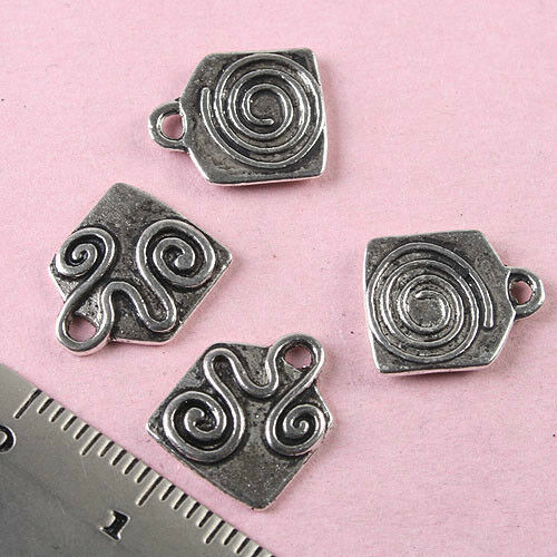 50pcs Tibetan Silver Spiral Charms Findings h0981