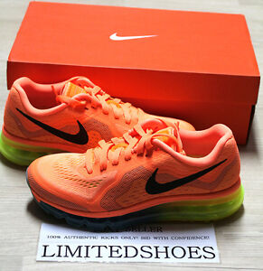 WMNS NIKE AIR MAX 2014 ATOMIC ORANGE BLACK VOLT 621078-804 cancer ... 3d5309188