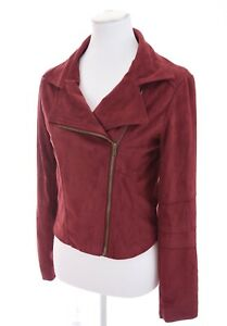Rue-21-Faux-Leather-Full-Zip-Up-Cropped-Moto-Jacket-Wine-Red-Womens-Sz-S