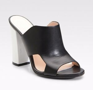 9abe8f9d91f VERSACE Cutout Black Leather Mule Sandals High White Heel Open Toe ...