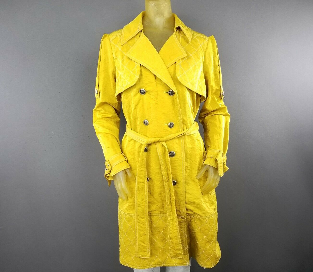 Design Today's Nylon Mustard Yellow Trench Style XL Coat Nylon Women's