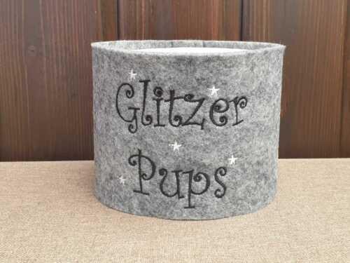 #910 Banderole »Glitzer Pups« Toilettenpapier Klopapier Klorollen Filz