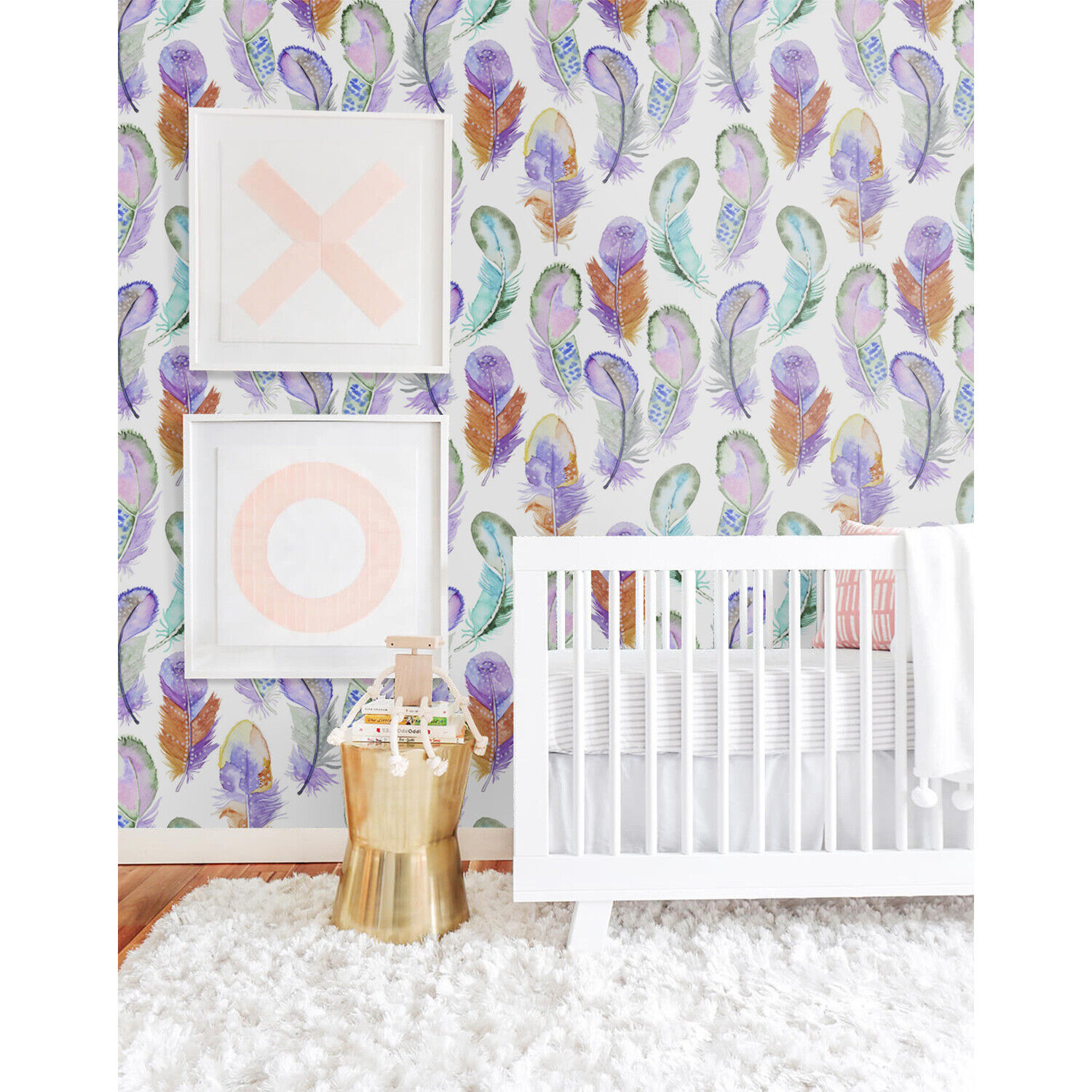 Removable Wall Mural self-adhesive Feather Farbeful Fairy tale Nursery Baby Kids