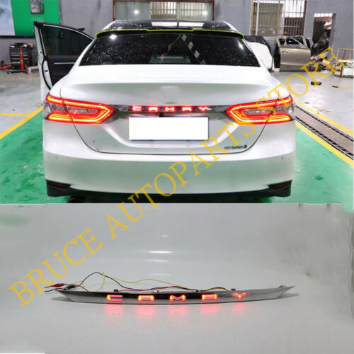 For Toyota Camry 2018~20 Rear Chrome o Central Trunk Light LED w//Dynamic Signal