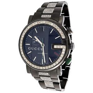 3cb29e18aa1 Diamond Gucci Watch Mens 101G Ya101331 Black PVD Chronograph Iced ...