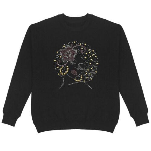 Handmade Unisex 1006 Bling Bling Afro Lady Nailhead /& Stones Crew Neck Sweatshirt Plus Size Beautiful Lady