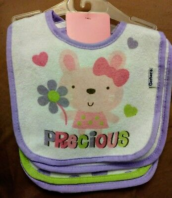 Gerber Baby Girl 3-Pk Terry Bibs Green Butterfly Pink Flowers BABY CLOTHES GIFT