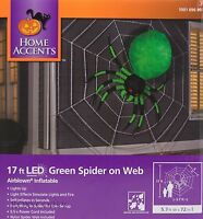 Halloween 14 Ft Led Green Spider On Web Airblown Inflatable