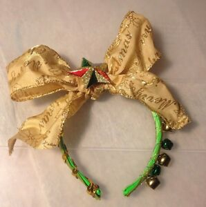 Ugly-Gaudy-Ladies-Girl-Wacky-TACKY-Headband-Christmas-Sweater-Party-Big-Gold-Bow