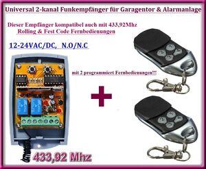 funkempf nger set 433 92mhz 12 24v 2 fernbedienung f r. Black Bedroom Furniture Sets. Home Design Ideas