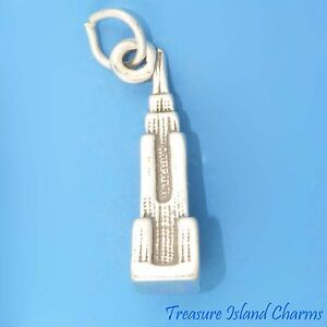 empire state building new york city 3d 925 solid sterling