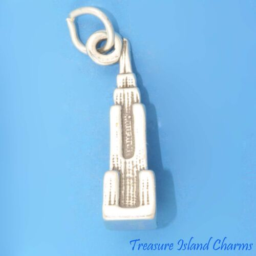 Empire State Building New York City 3D .925 Solid Sterling Silver Charm