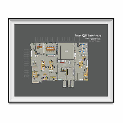 Dunder Mifflin Paper Company Floor Plan Poster The Office TV Show Blueprint Gift