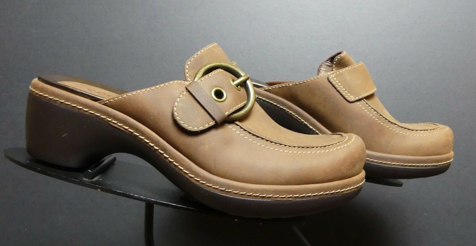 consegna veloce e spedizione gratuita per tutti gli ordini Donna  ECCO Marrone Leather Buckled Slide Slide Slide Mule Clog Sz. 37 6.5 MINT   solo per te