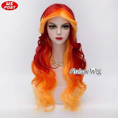 75CM Long Yellow Red Mixed Orange Curly Hair Lolita Halloween Women Cosplay Wig