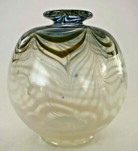 Vintage-Signed-Pulled-Feather-Art-Glass-Round-Vase