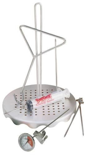 Turkey Chicken Deep Fryer Kit Injector Thermometer Grab Hook Skewer Rack