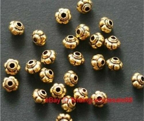 New Hot 50Pcs Antique Gold Lantern Shaped Finding Zinc Alloy Spacer Beads 5*4mm